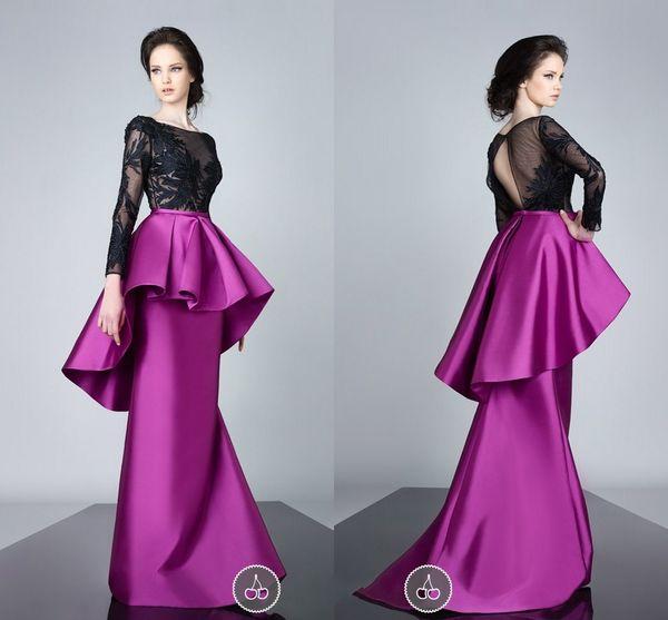Vestidos de fiesta formal de manga larga de encaje Negro elegante de los vestidos de noche del satén del fushia Volantes Peplum sirena vestidos de baile Volver hueco Arabia árabe
