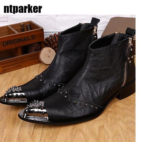 Western Black Men Leather Boots Fashion Designer Metal Toe Rivets Short Ankle Boots for Men, EU38-46!