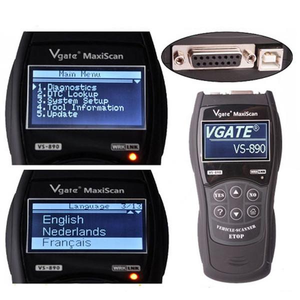 Outil de diagnostic automatique de scanner de lecteur de code d'écran d'affichage à cristaux liquides de VGATE VS890 OBD2 OBDII multilingue pour les voitures générales CEC_A0D
