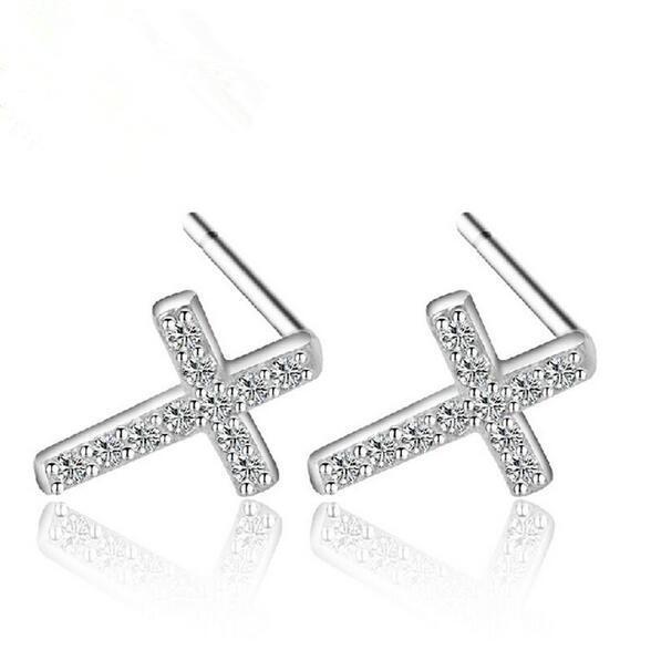 Fashion Women Korean 925 Sterling Silver Plated Crystal Zircon Cross Charm Brand Stud earrings Jewelry ED080