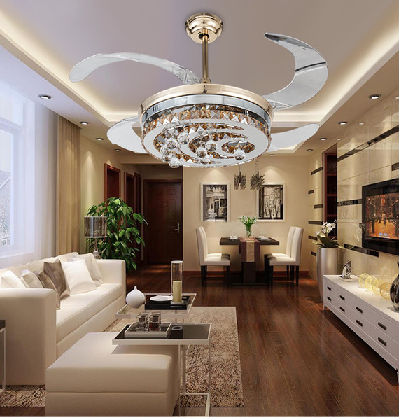 Modern stealth crystal ceiling fan lights LED fashion simple bedrooms living room dining room ceiling fans invisible Fan lights