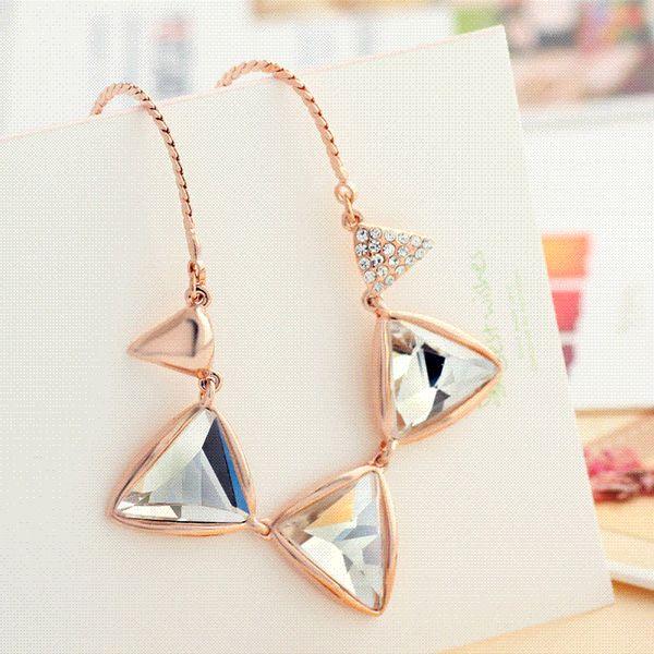 Neoglory Stylish Auden Rhinestone Pendant Necklace Triangle Statement Rose Gold Plated Elegant Fashion For Women Jewelry RCS Yc