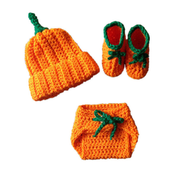 Adorable Newborn Pumpkin Costume,Handmade Knit Crochet Baby Boy Girl Halloween Outfit,Pumpkin Hat Diaper Cover Booties Set,Infant Photo Prop