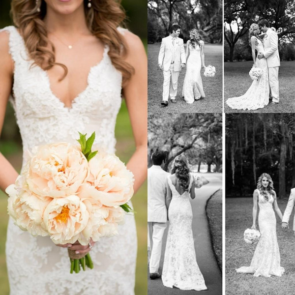 best selling 2019 Cheap Full Lace Wedding Dresses Deep V Neck Backless Sleeveless Mermaid Chapel Train Vintage Summer Wedding Bridal Gowns Plus Size