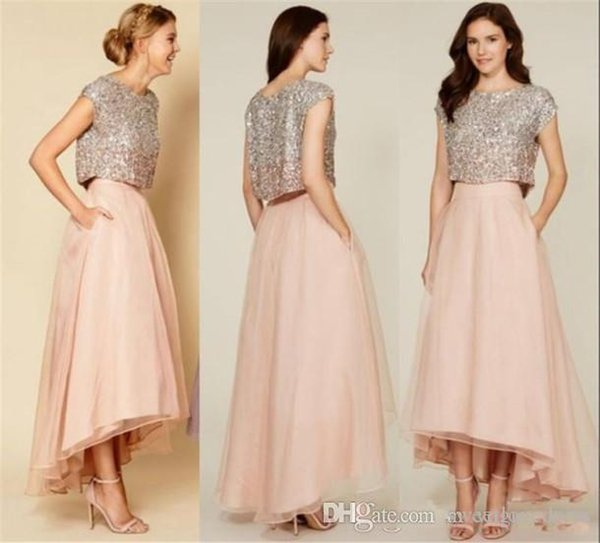 Two Pieces Sparkly Sequins beads Top Tea Length hi-lo Organza Prom Dresses short capped sleeves graduation dress