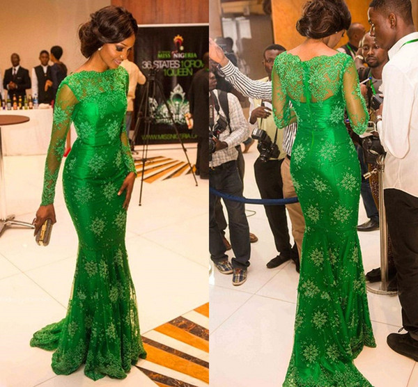 Hot Sale Lace Mermaid Red Carpet Evening / Celebrity Dresses See Though High Neck Long Sleeve Green Prom Gowns Sheer Back