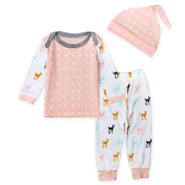 Primeiro Roupas De Aniversário De Natal Para O Bebê Menino Menina Conjunto de Roupas Hat + T Camisa Top + Calça Casual 3 PCS Terno Do Miúdo Do Bebê Recém-nascido Pijama Pijamas 0-2 T