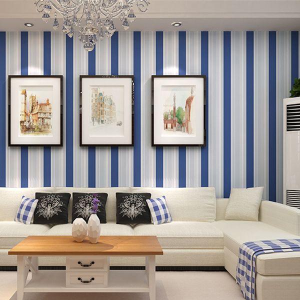 Großhandel Junge Schlafzimmer Tapete Modernen Blauen Streifen Tapete Wand  Papier Hintergrund Wand Tapete Für Wohnzimmer Schlafzimmer W133S Von ...
