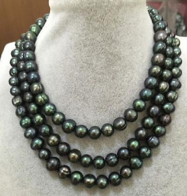 Élégant 11-12mm naturel tahitian collier de perles de paon vert 48inch 14K or
