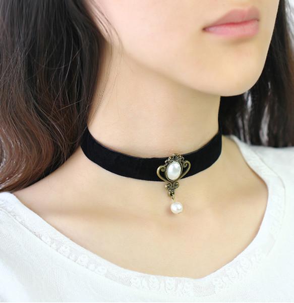 Nachahmung Perlen Tattoo Halskette Leder Flanell Choker Halskette Kreatives Design Alte Bronze Schmuck Frauen Liebe Schönheit Zubehör