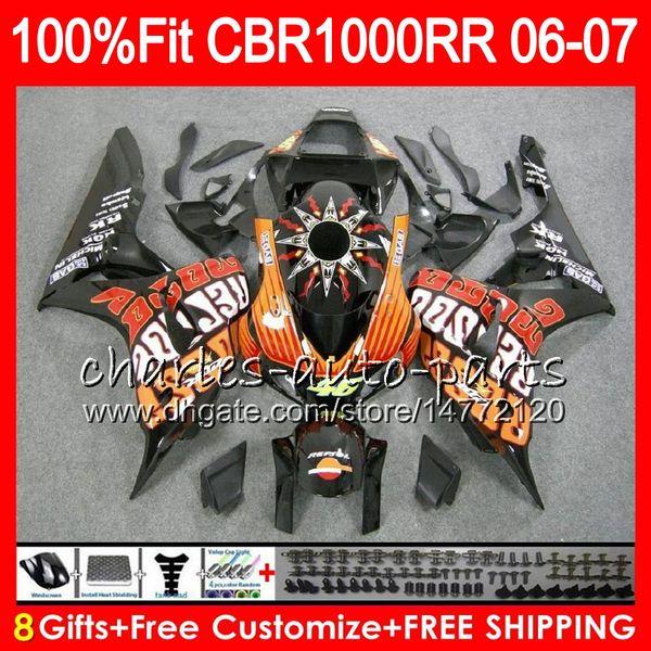 Injection Body For HONDA CBR 1000RR Repsol orange CBR1000 RR 06 07 Bodywork 78HM6 CBR1000RR 06 07 CBR 1000 RR 2006 2007 Fairing kit 100% Fit