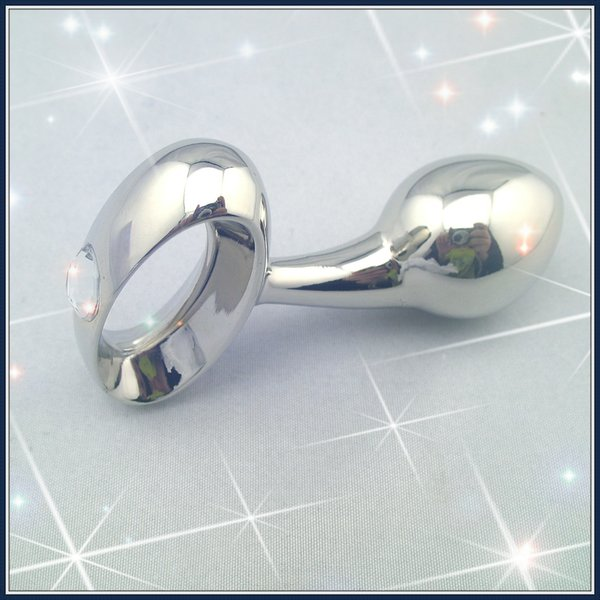 Drop shape anal plug silver color metal dildo stimulating wand male G-spotter sex toy adult product