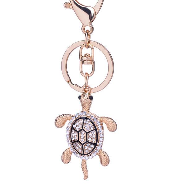 10 adet Benzersiz Rhinestone kaplumbağa anahtarlık Zarif altın kaplama çanta Anahtarlık Charm keyfobs yaratıcı Takı hediye toptan