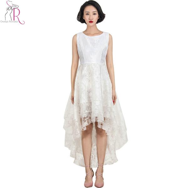 White Lace Floral Layered Sleeveless Round Neck Dress High Low Hem 2016 Women Spring Summer Novelty Designer Women ELegant Wear
