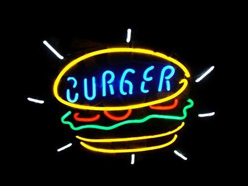 NEW Burger Food Real Glass Neon Light Sign Home Beer Bar Pub Recreation Room Game Room Windows Garage Wall Sign