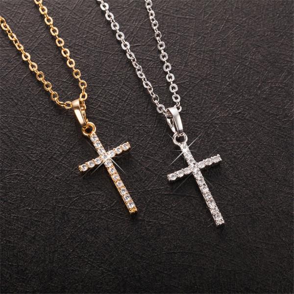 Joli cadeau d'anniversaire CZ Cool Dominic Cross Collier pendentif de haute qualité collier plaqué en or jaune 18K / blanc pour fille à femme