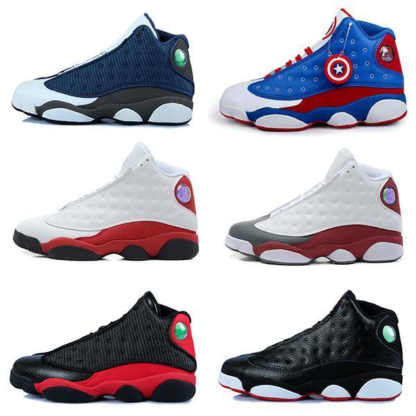 Дешевые новые высокое качество 13 13s Мужчины Женщины баскетбольная обувь разводят черный коричневый синий белый голограмма кремни серый красный спортивные кроссовки Size5.5-13