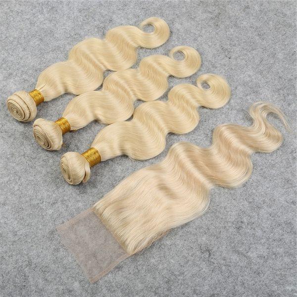 Новое прибытие волос продукт блондинка бразильская волна тела 3 шт. волос утка с закрытием кружева 1шт, 4 шт. / лот #613 светлые волосы DHL Бесплатная доставка