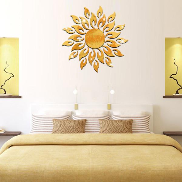 DIY 27Pcs Sparkly Sun Pattern Acrylic Crystal Decals 3D Modern Design Mirror Surface Wall Sticker Living Room Bathroom Mural Decor Home Art