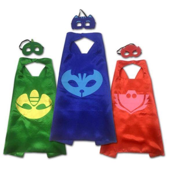 PJ MASQUE Cosplay Bébé Pyjamas Masqué Homme Enfant Cape 2PCS / SET Masques Jeu de Rôle Cape Cape Catboy Action Toys Pour Enfants