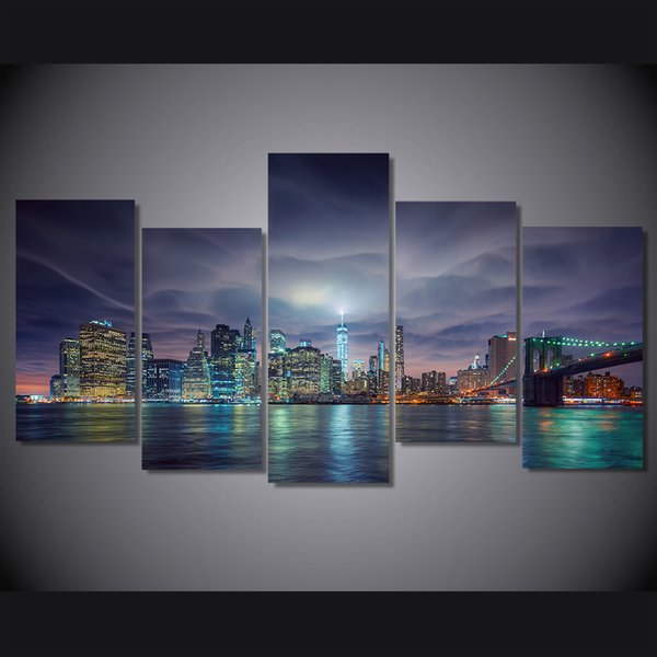 5 Pcs/Set Framed Printed usa new york city night lights Painting on canvas room decoration print poster picture canvas Free shipping/ny-4964