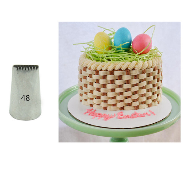 Wholesale- #48/48D Basket Weave Cake Pastry Nozzles Decorating Tips Cupcake Baking Tools Bakeware Supplies KH119