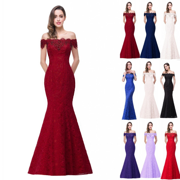 2019 New Designer Cheap In Stock Designer Prom Dresses Off Shoulder Lace Appliques Mermaid Bridesmaid Dresses Corset Back CPS199