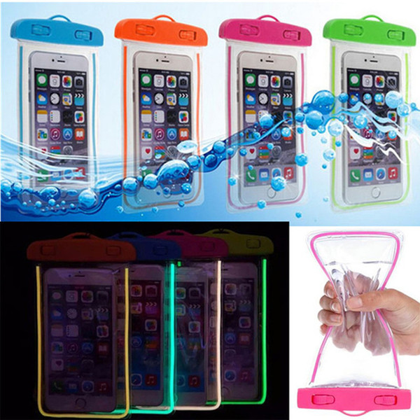 100% Sealed Waterproof Bag Case Pouch Luminous Phone cases for iPhone 6/6 Plus/5/4 Samsung Galaxy S6/S5/S4/ Note 2