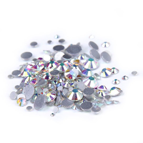 SS3-SS10 y tamaños mixtos sin Hotfix Crystal Rhinestones Glitter White Crystal AB Flatback Pegamento en diamantes Strass Muchos tamaños para uñas 3D