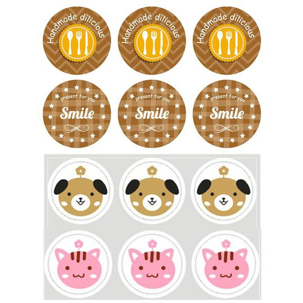 Cute 20sheet Label Sealing Paste Sealing Sticker Baking Cookies Packaging Decorate DIY Sticky Free Shipping