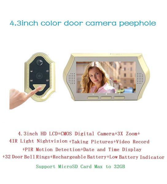 New 4.3inch spioncino porta digitale 0.3Megapixels camera IR Night vision 3X Zoom PIR Motion Detection 32 Rings peephole Max 32G