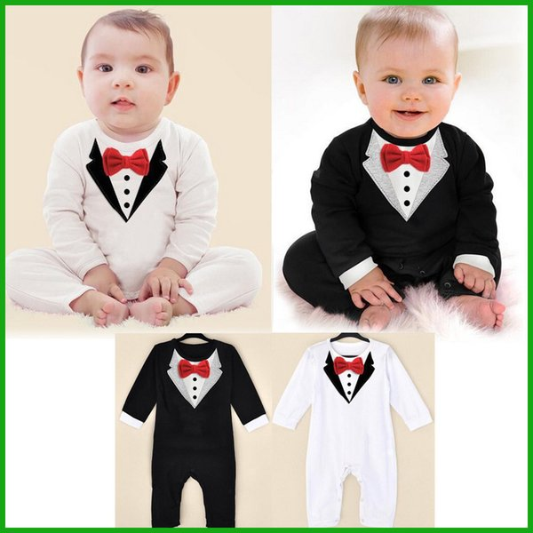 gentleman formal baby rompers black white jumpsuits red bow tie popular children outfits hot selling free shipping