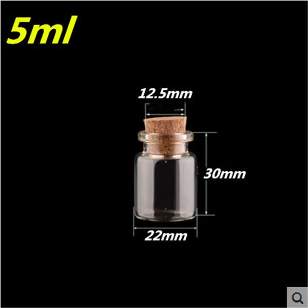Wholesale- 5ml bottiglie di vetro con tappo tappi trasparenti mini vasetti fiale piccole bottiglie di desiderio 22 * 30 * 12.5mm 5 ml 100 pz spedizione gratuita