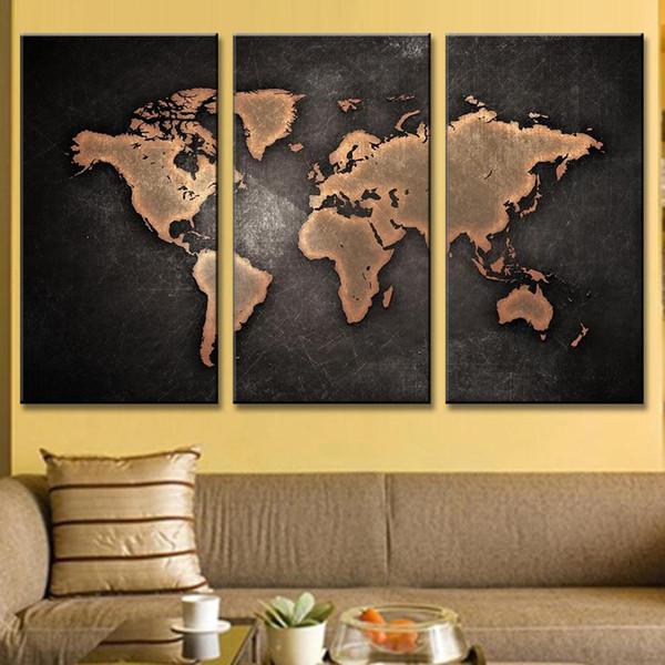 3 Stücke Weltkarte Gemälde HD Abstrakte Weltkarte Leinwand Malerei für Wohnzimmer Wand Moderne Dekor Bild (ungerahmt)