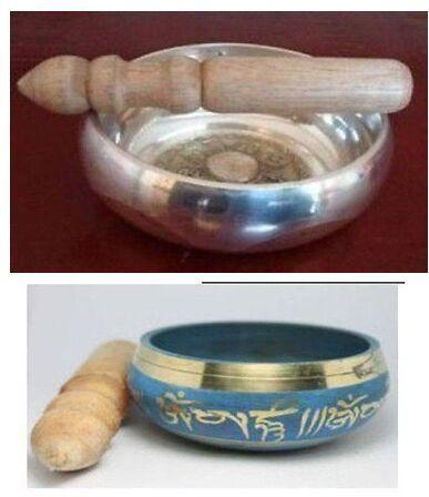 Wholesale Tibetan Copper Crafted Gold Gilt Large Chakra Singing Bowl Meditation BLUE Arts and Crafts