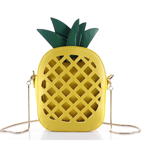 top popular 2017 Leather Cute Handbag For Women Lovely Pineapple Girl Messenger Bag With Chain Hollow Out PU Women Bag Mini Purse 2019