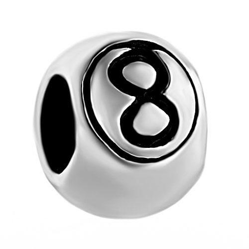 No. 8 eight ball Sports game bead big hole metal slider charm European fit Pandora Chamilia Biagi charm bracelet