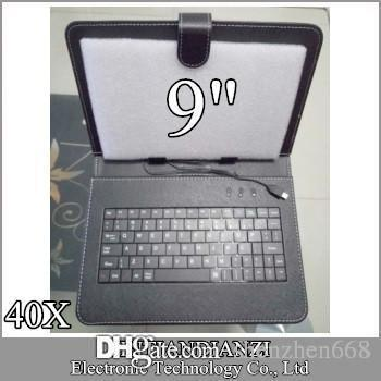 40X 9 Inch Leather Case Keyboard Micro USB Port With Stand Protective Cover For 9 Inch A33 Android Tablet PC MID B-JP