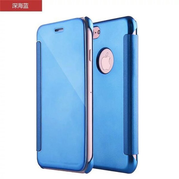 For iphone 7 plated PC mirror case plating flip back+front full covers wallet cases for iphone 6 6s 7 plus with retail box