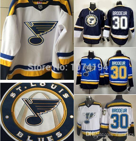 New pattern 2016 St.Louis Blues #30 Martin Brodeur Hockey Jersey New Home Blue Team Color White Jersey Stitched embroidery logo