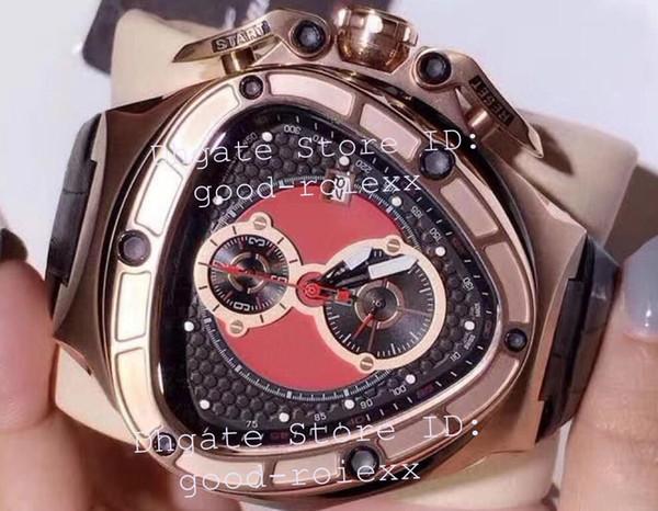Top luxe Mens Chronographe VK Ronda Quartz Hommes cadran rouge 66e anniversaire Montres Hommes Sport Racing Car Rose Or Chronomètre en cuir