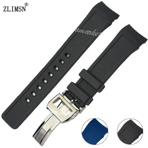 Pulseiras de relógio de homens curvado final preto azul pulseira de borracha de silicone bandas de relógio para Iwcwatch Strap Prata Preta Fivela 21mm