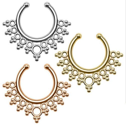 New Arrival Pierced Round Nose Hoop Nose Rings Fake Septum Clicker Non Piercing Hanger Clip On Jewelry Piercing Jewelry
