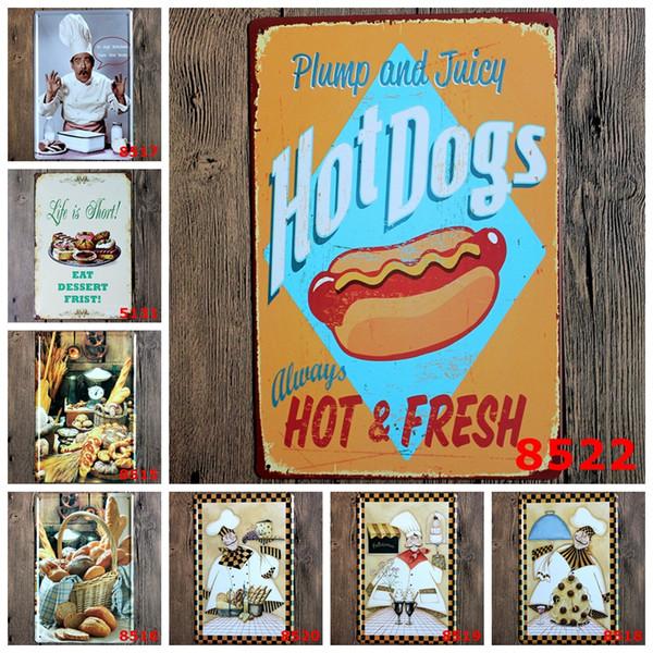 2016 20 * 30 cm perros calientes siempre hotfresh jefe de cocina Cartel de chapa Cafetería Restaurante Bar Arte de la pared decoración Bar Pinturas de Metal