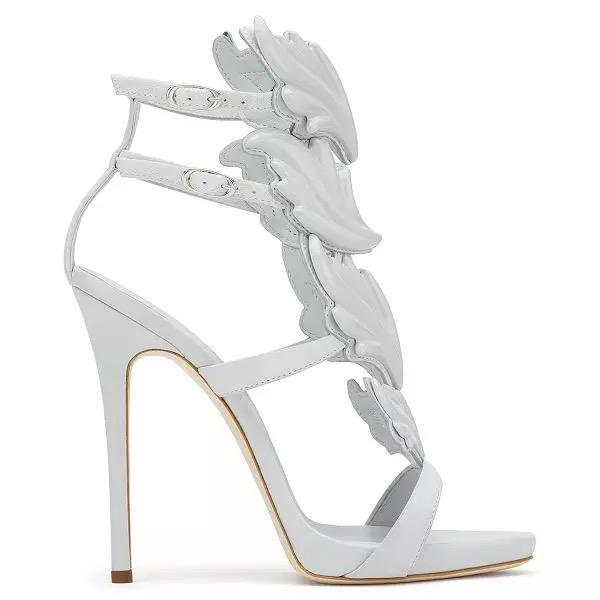 Women Pleather Leaf Decorate Open Toe Sexy 12cm High Heels Sandals Shoes for Woman, plus size 5-14