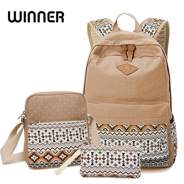 Winner Brand Lady Backpack Bags Women Dot Printing Canvas Backpack Vintage Middle High Student Schoolbag Female