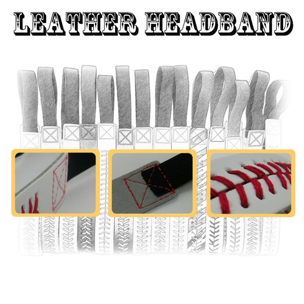 2016 wholesale 26 colors SOFTBALL SEAMSTITCH HEADBAND Stretch Sports Softball LEATHER headband