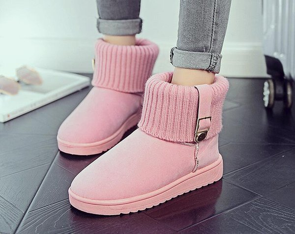 2018 New Women Winter Shoes cony hair Snow Boots Cotton Inside Antiskid Bottom Keep Warm Waterproof Ski Boots