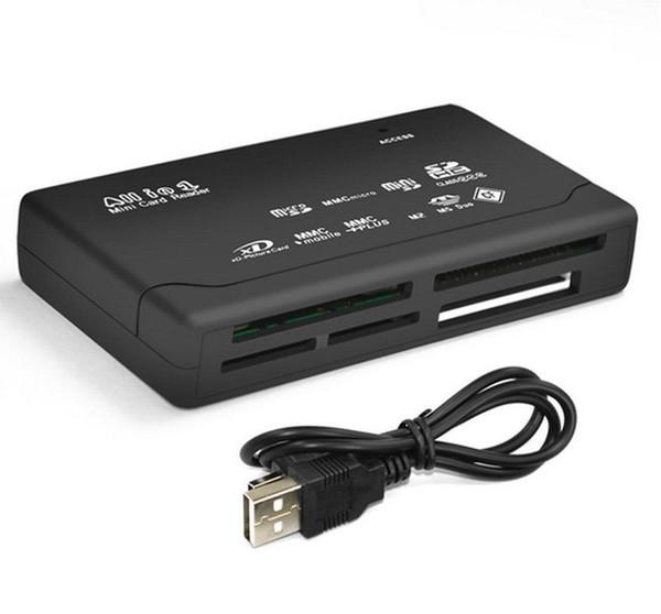 500pcs Universal Multi en 1 tout en un lecteur de carte mémoire USB externe SD SDHC Mini Micro M2 MMC XD CF livraison gratuite