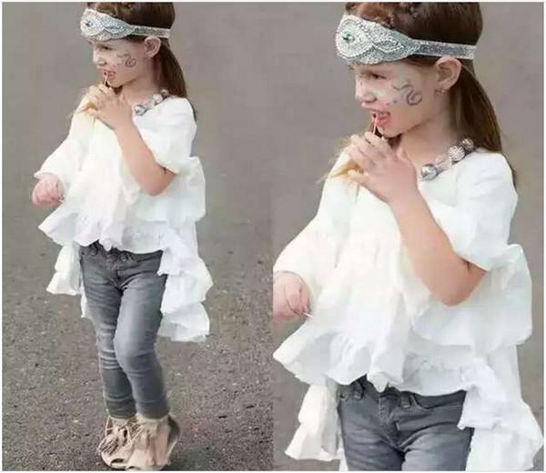 2016 nuevas muchachas lindas camisas blancas visten algodón de los niños camisa larga Blusas Moda de manga corta Tops Baby Girl Ruffle camisetas 5pcs / lot